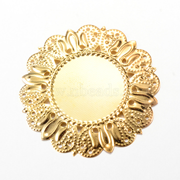 Iron Cabochon Connector Settings, Etched Metal Embellishments, Flower, Light Gold, Tray: 25mm, 49x49x2mm, Hole: 1mm(X-IFIN-Q118-18KC)