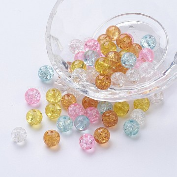 1 Bag Round Baking Painted Crackle Glass Beads Crafts Mixed Color 8~8.5x7.5~8mm