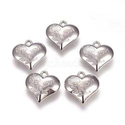 пластмассовые подвески ccb, сердце с цветком и словом любовь, на день Святого Валентина, платина, 27.5x28x10 mm, отверстия: 3 mm(CCB-J036-09P)
