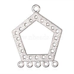 Сеттинги разъем сплава кабошон тибетском стиле, 1/5loops, пятиугольник, платина, лоток : 19 мм; 39x32x2 мм, отверстия : 2 mm и 3 мм