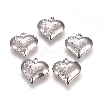 CCB Plastic Pendants, Heart with Flower and Word Love, For Valentine's Day, Platinum, 27.5x28x10mm, Hole: 3mm(CCB-J036-09P)