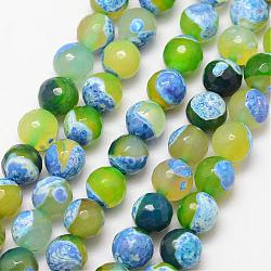 Natural Fire Agate Bead Strands, Round, Grade A, Faceted, Dyed & Heated, GreenYellow, 10mm, Hole: 1mm; about 37pcs/strand, 15