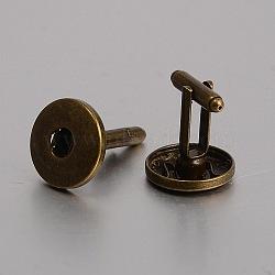 Латунь кнопку оснастки материалы, манжеты кнопку, сеттинги для кабошонов для создания одежды , без никеля , античная бронза, 29x19 мм; подходят для 6 кнопок ручка мм досрочных(KK-J184-35AB-NF)