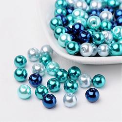 Bleu mix perles carribean de perles de verre nacrées, couleur mixte, 8mm, trou: 1 mm; environ 100 PCs / sachet (HY-X006-8mm-03)