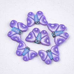 Cabochons en pâte polymère manuels, nail art décoration, papillon, mauve, 4.5~5.5x6~7x0.5~1 mm; environ 1000 PCs / sac(CLAY-S093-18C)