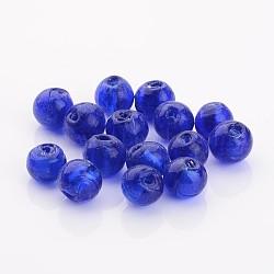 Perles en verre d'argent feuille manuelles, rond, bleu, 12mm, Trou: 2mm(X-FOIL-R054-12mm-11)