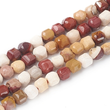 Natural Mookaite Beads Strands, Faceted, Cube, 6~6.5x6~6.5x6.5mm, Hole: 1mm, about 62pcs/strand, 14.8inches(37.6cm)(G-I270-05)