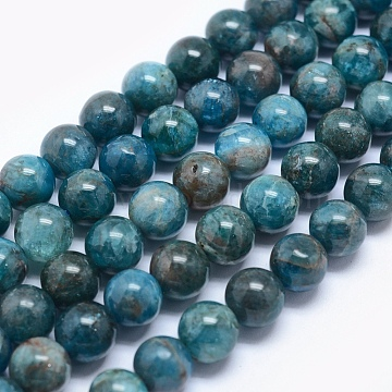 Natural Apatite Beads, Round, 6mm, Hole: 0.8mm(X-G-E481-05-6mm)