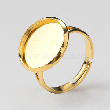 Adjustable Brass Ring Components, Pad Ring Findings, with Flat Round Cabochon Bezel Settings, Golden, Tray: 12mm, Size 7, 17mm(X-MAK-Q009-13G-12mm)