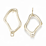 Alloy Stud Earring Findings, with Loop, Light Gold, 27x15mm, Hole: 2mm; Pin: 0.7mm