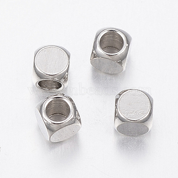 304 Stainless Steel Beads, Cube, Stainless Steel Color, 3x3x3mm, Hole: 2mm(STAS-G170-36P-3mm)