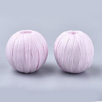 30mm Pink Round Raffia Beads