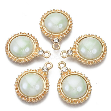 Porcelain Pendants, with Light Gold Plated Brass Findings and Crystal Rhinestone, Half Round, Honeydew, 23x17x5mm, Hole: 1.8mm(KK-N235-039D)