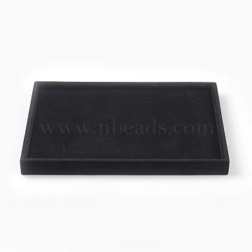 Wooden Covered with Velvet Earring Displays, Rectangle, Black, 35x24x3cm(EDIS-F003-01)