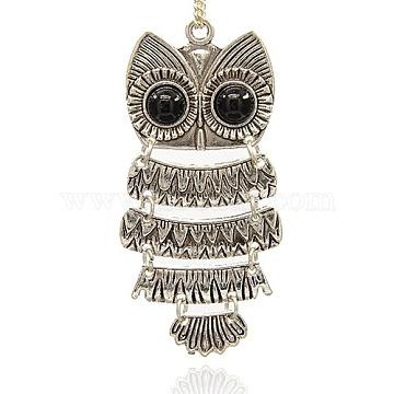 Antique Silver Black Owl Alloy Big Pendants