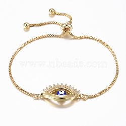 bracelets réglables en laiton à micro-pavé de zircone cubique, bracelets bolo, avec l'émail, mauvais œil, or, 10-5 / 8 (270 mm); 1.2 mm(BJEW-E317-04G)