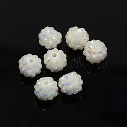 Бусины со стразами из смолы, AB цвет, круглые, белые, 12x10 мм, отверстие : 2 мм(RESI-S256-12mm-SAB1)