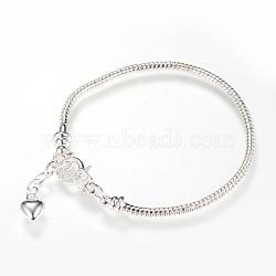 laiton européens étoffe bracelet de style, argent, 7-5 / 8 (195 mm) x 2.5 mm(X-MAK-R011-03S)