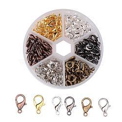 1 boîte 120 pcs 6 couleurs fermoir mousqueton en alliage de zinc, sans nickel, couleur mixte, 12x7mm, trou: 1.2 mm; environ 20 pcs / compartiment(PALLOY-JP0004-NF)