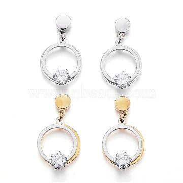 304 Stainless Steel Ear Fake Plugs, Ear Studs, with Cubic Zirconia, Ring with Star, Mixed Color, 30mm; pin: 1mm(EJEW-K043-10)