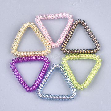 Plastic Telephone Cord Elastic Hair Ties, Ponytail Holder, Triangle, Mixed Color, 44~47x47~50x6mm(OHAR-T006-25A)