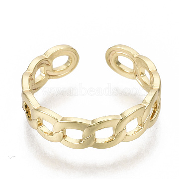 Brass Cuff Finger Rings, Open Rings, Nickel Free, Curb Chain Shape, Real 18K Gold Plated, US Size 6(16.5mm)(X-RJEW-N030-004-NF)