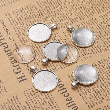 DIY Pendant Making, Tibetan Style Alloy Pendant Cabochon Settings and Transparent Glass Cabochons, Flat Round, Antique Silver, Tray: 25mm; 37x28x2mm, Hole: 3.5x6mm, 24.5~25x6~7mm, 2pcs/set(DIY-X0098-44AS)