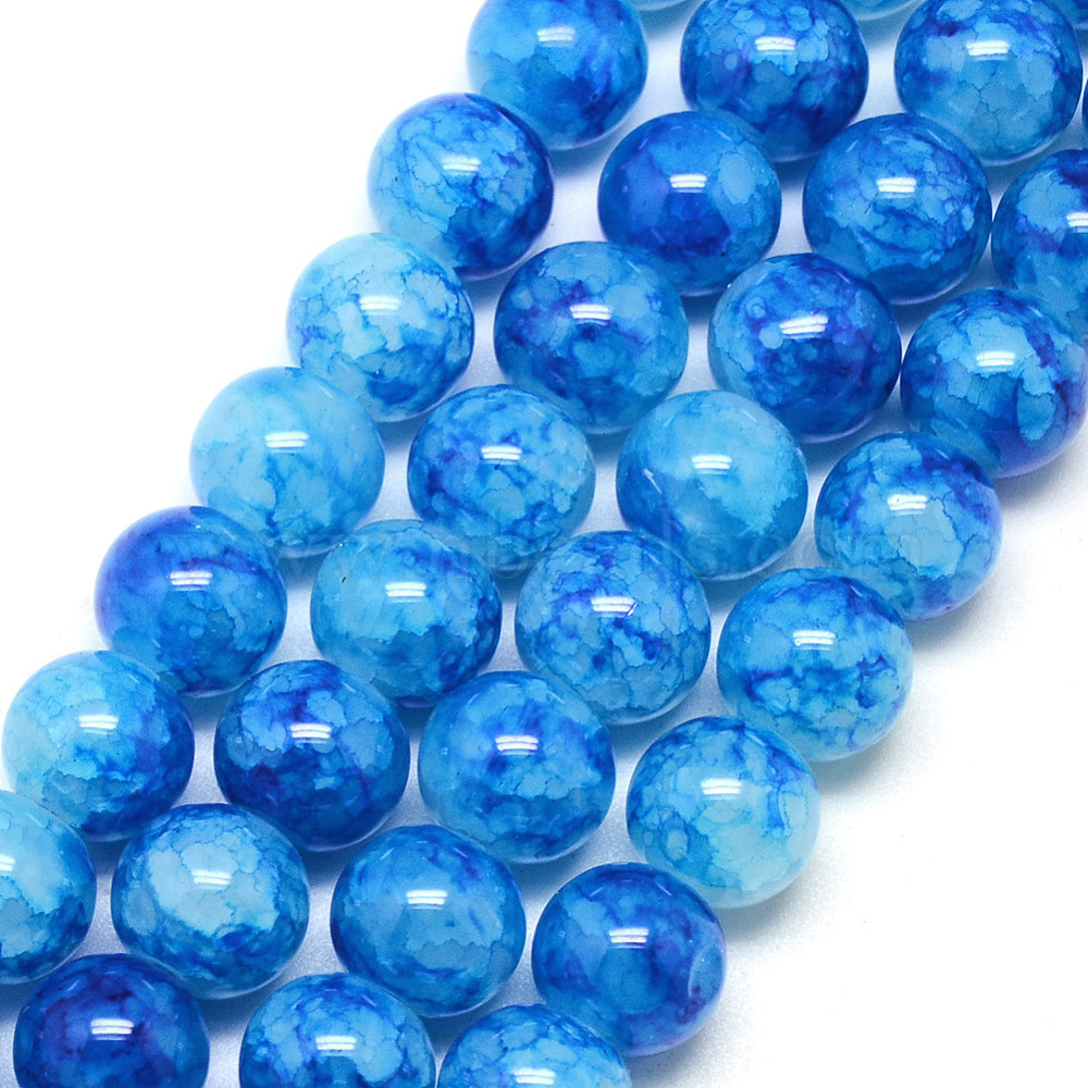 50 Royal Blue Round Crackle Glass Beads 4mm