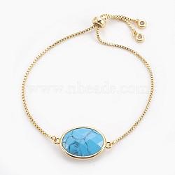 """Bracelets bolo réglables en laiton, Bracelets coulissants, avec lien turquoise synthétique et zircone, ovale, or, 9-3/8"""" (23.9 cm), 1mm(BJEW-JB03898-01)"""