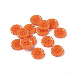 Boutons acryliques de couture, Boutons en plastique pour costumes, 4-trou, teint, plat rond, orange foncé, 15x2mm, Trou: 1mm(X-BUTT-E076-E-06)
