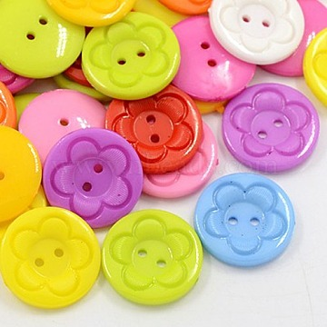 Acrylic Sewing Buttons for Clothes Design, Plastic Buttons, 2-Hole, Dyed, Flat Round with Flower Pattern, Mixed Color, 16x3mm, Hole: 1mm(X-BUTT-E083-C-M)