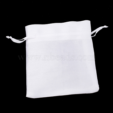 Polyester Packing Pouches Bags, Drawstring Bags, Rectangle, White, 20x15cm(X-ABAG-T005-03)
