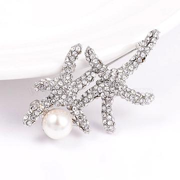 Alloy Rhinestone Starfish/Sea Stars Safety Brooches, with Acrylic Pearls, Platinum, 32x52mm(JEWB-L004-06P)