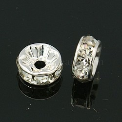 Brass Grade A Rhinestone Spacer Beads, Rondelle, Silver, 8x3.8mm, Hole: 1.5mm