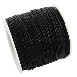Environmental Waxed Cotton Thread Cords, Macrame Beading Cords, for Bracelet Necklace Jewelry Making, Black, 1mm; about 100yards/roll(YC-R008-1.0mm-332)
