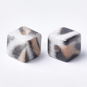 Printed Acrylic Beads, Cube, NavajoWhite, 15x15x15mm, Hole: 3.5mm(MACR-T024-60A)