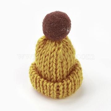 Handmade Wool Woven Hat Decoration, DIY Craft Decoration, with Pom Pom Ball, Goldenrod, 33~38x45~50mm(AJEW-L066-B05)