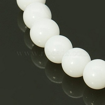 Round White Glass Beads Strands, 8mm, Hole: 1mm; about 40pcs/strand, 11~12inches(X-GR8mm26Y)