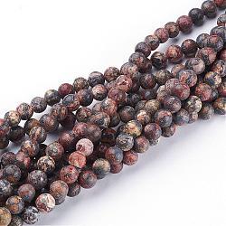 """15~16"""" brin de pierres fines rondes, jaspe en peau de léopard rouge, trou: environ 0.8 mm(GSR6mmC066)"""