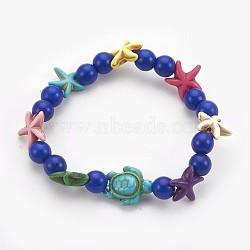 """Bracelets stretch enfants perles de turquoise synthétiques, tortue de mer et étoile de mer et rond, bleu, 2-1/8"""" (5.5 cm)(BJEW-JB03889-04)"""