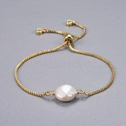 """Bracelets coulissants en laiton, bracelets bolo, avec des perles de keshi naturelles, blanc, 9"""" (23cm); 1.3mm(BJEW-JB04266-02)"""