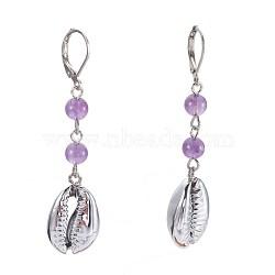 Boucles d'oreilles en améthyste naturel, facette, avec des perles de coquillages, clou tête boule en fer et accessoires de dormeuse en laiton, 57~60mm, pendentif: 18~19x13~13.5x6~7 mm(EJEW-JE02819-03)