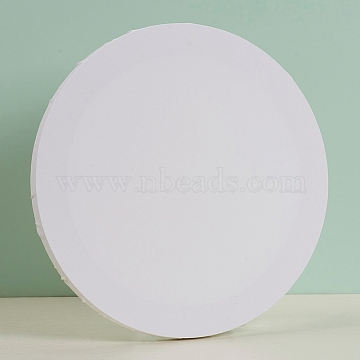 Blank Cotton Wood Primed Framed, Stretched Cotton Board, for Painting Drawing, Flat Round, White, 30.5x1.7cm(DIY-G019-08A)