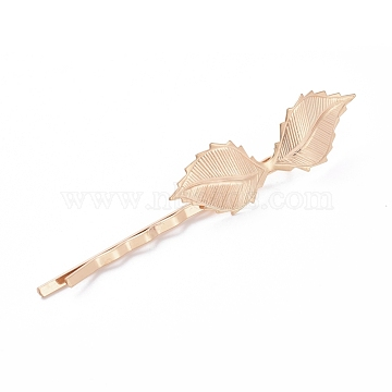 Épingles à cheveux en fer, avec les accessoires en laiton, feuille, Plaqué longue durée, or clair, 72x4.5 mm; feuille: 42x14 mm(IFIN-L035-04LG)