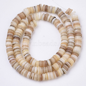 Natural Freshwater Shell Beads Strands, Disc/Flat Round, Heishi Beads, Shell Shards, Wheat, 5x0.5~3mm, Hole: 0.9mm, 14.88 inches(37.8cm)~15.19 inches(38.6cm), about 204~209pcs/Strand(X-SHEL-N003-02)