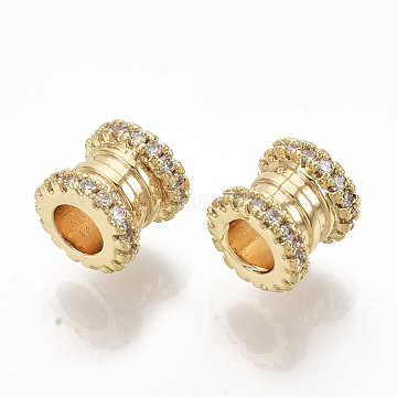 Brass Micro Pave Cubic Zirconia Beads, Grooved Beads, Real 18K Gold Plated, Clear, 7x6.5mm, Hole: 3.5mm(X-ZIRC-D116-03)