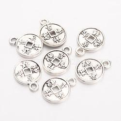 Pendentifs en alliage, sans plomb et sans cadmium, pièce avec des caractères chinois, plat rond, argent antique, 15.5x12.5x2mm, Trou: 1.5mm(X-EA9079Y)