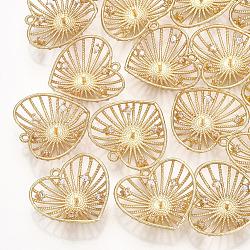 Pendentifs en laiton, avec zircons, pour la moitié de perles percées, cœur, véritable 18k plaqué or, clair, 19x20x5.5mm, trou: 1.2 mm; broches: 1 mm(KK-T035-105)