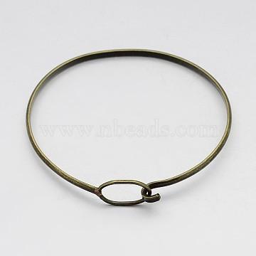 Brass Bangle Making, Antique Bronze, 63x50x3mm(X-BJEW-B133-01AB-NF)