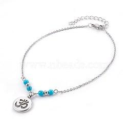 bracelets de cheville synthétiques turquoise, avec des pendentifs en alliage de style tibétain, 304 résultats en acier inoxydable et épingle à oeil en fer, rond et plat avec ohms, argent antique et platine, 9-7 / 8 (25.1 cm), pendentif: 19x14.5x2 mm(AJEW-AN00234-02)